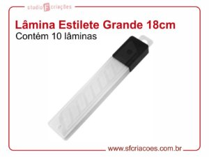 10 Lâminas para Estilete Grande - 18cm