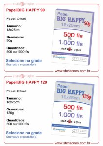 Papel Offset 18x25cm - BIG HAPPY (Selecione gramatura na grade)