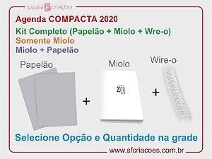 Agenda Compacta - Kit Completo, Somente Miolo ou Miolo + Papelão (Selecione na grade)