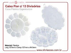 Caixa Plastica Organizadora - Formato de Flor c/ 13 Divisórias