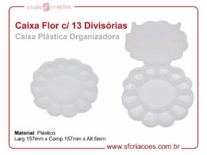 Caixa Plastica Organizador - Formato de Flor c/ 13 Divisórias