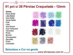 01 Pct c/ 20 Pérolas Craqueladas 12mm - Selecione na grade a cor
