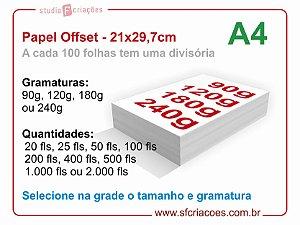 Papel Offset Tamanho A4 - Selecione gramatura e quantidade na grade