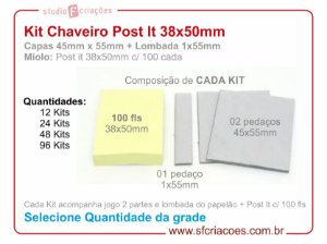 Kit Chaveiro Post It 38x50mm