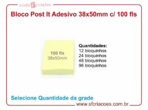 Bloco Post It Papel Adesivado 38x50mm