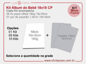 Kit Livro ou Album do Bebe CP - 18x18cm