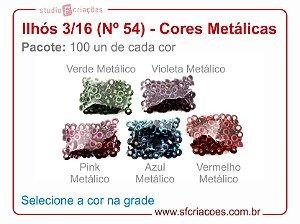 01 pct c/ 100 Ilhos CORES METÁLICAS n 54 (3/16 polegadas)