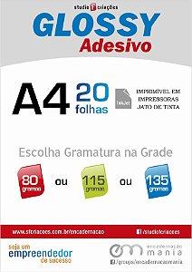 Papel fotográfico A4 - Glossy Adesivo - Pacote com 20 fls - (Selecione gramatura e quantidade na grade)