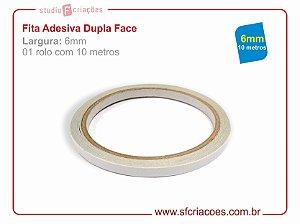 Fita Adesiva Dupla Face - Largura 6mm c/ 10 metros