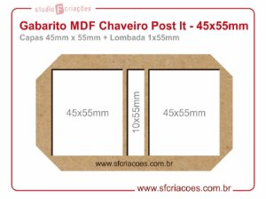Gabarito MDF Chaveiro Post It - 45x55mm