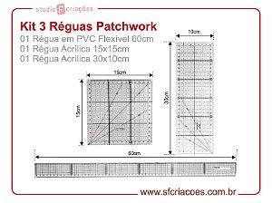 kit c/ 3 Reguas Patchwork