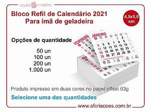 Refil Bloco de Calendário 2021 para Ímã de Geladeira