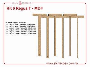 Kit 6 Régua T - MDF