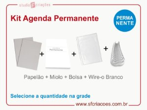 """Kit Agenda Executiva PERMANENTE (miolo + papelão + bolsa canguru + wire-o 2x1 1"""")"""