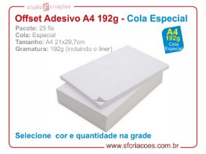Pct c/ 25 fls papel offset adesivo COLA ESPECIAL - tamanho A4
