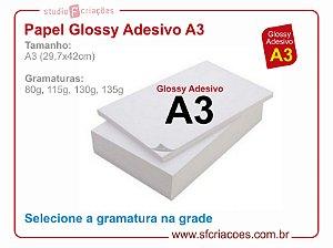 Papel fotográfico A3 - Glossy Adesivo - Pacote com 20 fls - (Selecione gramatura e quantidade na grade)