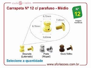 Fecho puxador carrapeta Nº 12 c/ parafuso - pacote c/ 05 unidades
