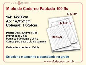 Miolo de Caderno Pautado 100 fls
