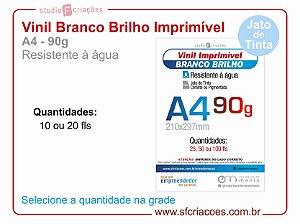 Vinil Imprimível BRANCO BRILHO - A4 -90g (JATO DE TINTA)