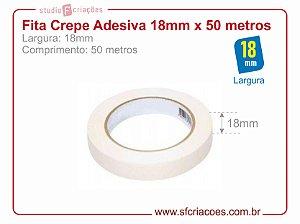 Fita Crepe Adesiva - Largura 18mm c/ 50 metros
