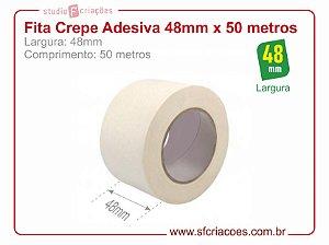 Fita Crepe Adesiva - Largura 48mm c/ 50 metros