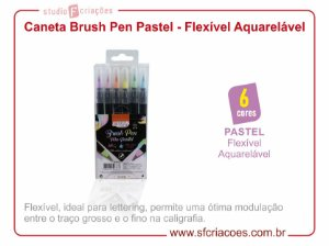 Caneta Brush Pen Aquarelável - Cores Pastéis