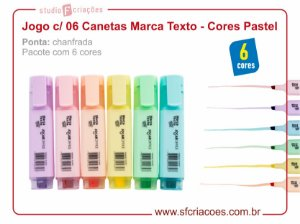 Jogo c/ 06 Canetas Marca Texto - Cores Pastel