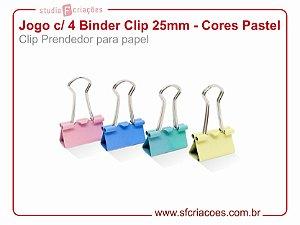 Jogo c/ 4 Binder Clip 25mm - Cores Pastel (Clip Prendedor para papel)