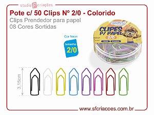 Pote c/ 50 Clips Nº 2/0 - Colorido (8 cores sortidas)