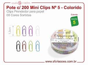 Pote c/ 200 Mini Clips Nº 5 - Colorido (8 cores sortidas)