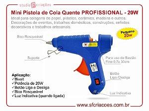 Mini Pistola PEQUENA de Cola Quente Profissional - Potência 20w - BIVOLT