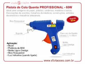 Pistola GRANDE de Cola Quente Profissional - Potência 60w - BIVOLT