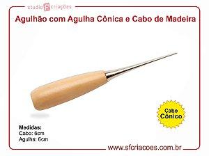 Agulhão - Furador manual com cabo de madeira e agulha cônica - MODELO 2