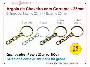 Argola de Chaveiro com Corrente 25mm