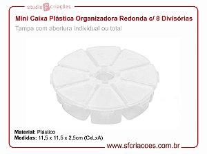 Mini Caixa Plástica Organizadora Redonda c/ 8 Divisórias
