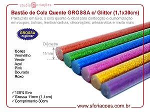 Bastão de Cola Quente GROSSA c/ Glitter (1,1x30cm)