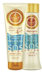 Shampoo 300ml e Leave in 240g Pré e Pós Sol Girassol - Haskell