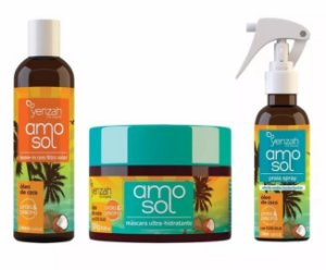 Kit Amo Sol Spray, Leave-in E Máscara Hidratante Yenzah