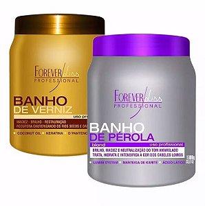 Mascara Banho De Verniz + Banho De Perola 2x1kg Forever Liss