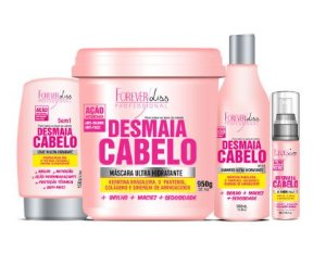 Kit Desmaia Cabelo Shampoo Máscara 950g Leave-in E Serum