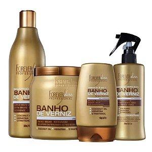 Kit Banho De Verniz Máscara 1kg + Shampoo Leave-in Queratina