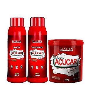 Glatten Reconstrução e Hidratação de Açucar Kit 3 produtos