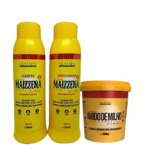 Glatten Maizzena kit Alisamento Natural c/ mascara 500g