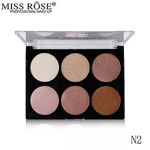 Miss Rose Glow Kit Paleta de Iluminador 6 cores 025 N2