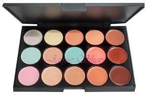 Paleta de corretivo, base, contorno, iluminador e prime  Miss Rose 15 cores