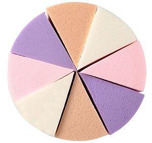 Esponjas para limpeza facial em látex tipo pizza com 8 peças coloridas - Macrilan