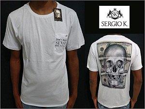 Camiseta Sergio K Make Dollars Caveira Branco - Original