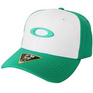 Boné Oakley Tincan Branco com Verde