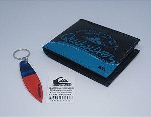 Carteira Quiksilver Boardshot Preto com Azul - Importada