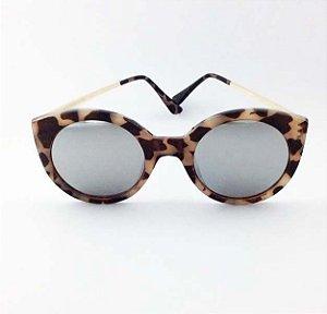 Óculos Gatinho Tartaruga com Lente Prateada Espelhada (Cód 166oc)